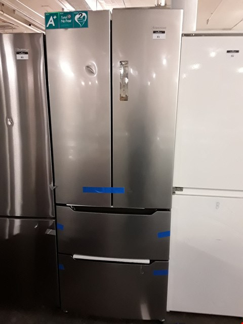 Lot 81 HINSENSE FRIDGE WITH 2 DRAWER FREEZER IN SILVER  RRP £1139