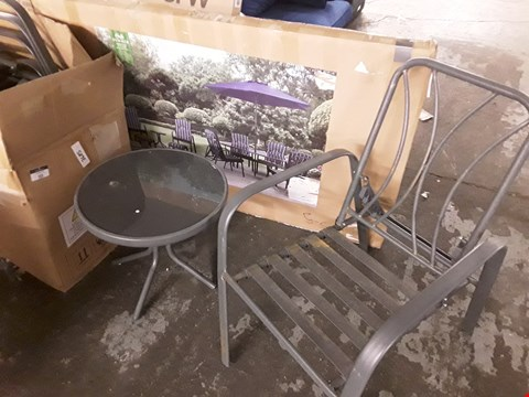 Lot 505 HAMPTON GREY METAL 11 PIECE DINING SET PARTS INCLUDES BOXED TABLE, 6 FOLDING CHAIRS AND CIRCULAR TABLE
