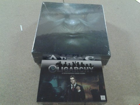 Lot 368 BOXED ABYSS BOARD GAME AND OLIGARCHY A DYSTOPIAN CARD GAME