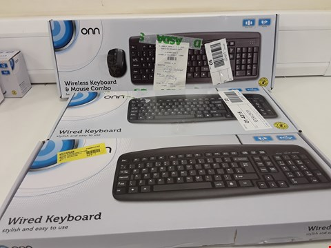 Lot 330 THREE BOXED ONN COMPUTER KEYBOARDS, 2 × WIRED, 1 × WIRELESS KEYBOARD & MOISE COMBO