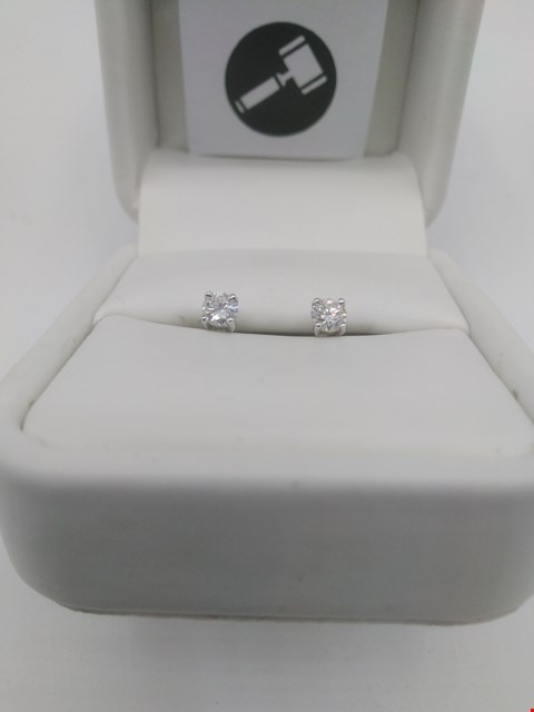 Lot 14 18CT WHITE GOLD SCREW BACK STUD EARRINGS SET WITH DIAMONDS WEIGHING 0.41CT RRP £1150.00
