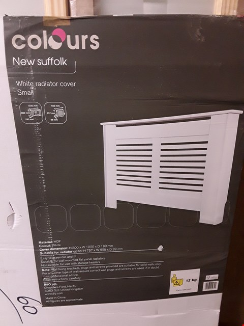 Lot 3170 COLOURS NEW SUFFOLK WHITE RADIATOR COVER H800 X W1020 X D180MM