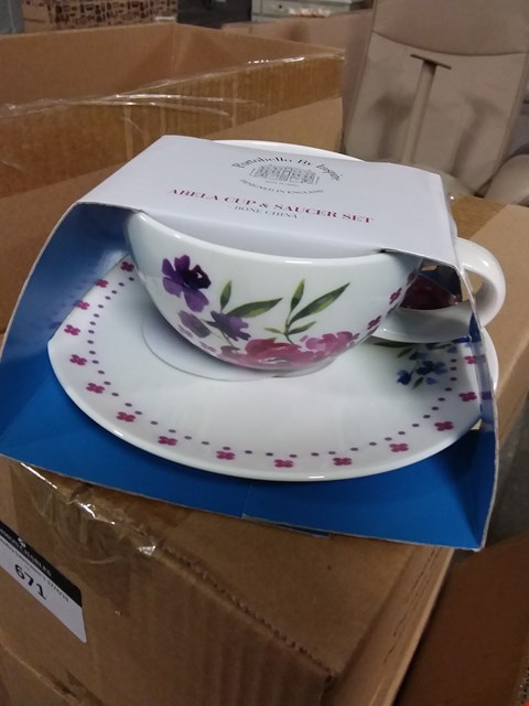 Lot 671 LOT OF 8 X BOXED PORTOBELLO BONE CHINA CUP & SAUCER SETS (2 BOXES)