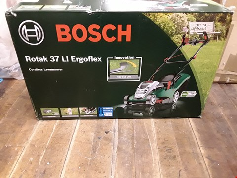 Lot 1743 BRAND NEW BOSCH ROTAK 37 LITHIUM-ION ERGOFLEX CORDLESS ROTARY LAWNMOWER RRP £449.99