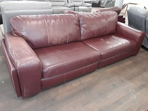 Lot 2019 DESIGNER ETERNITY RED LEATHER THREE & FOUR SEATER SOFAS
