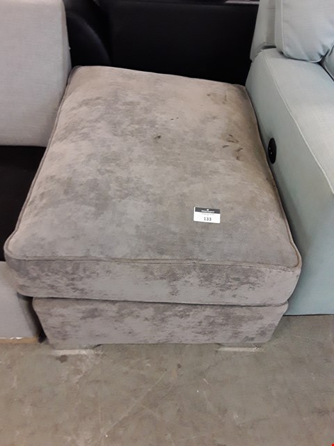 Lot 133 DESIGNER GREY FABRIC FOOTSTOOL
