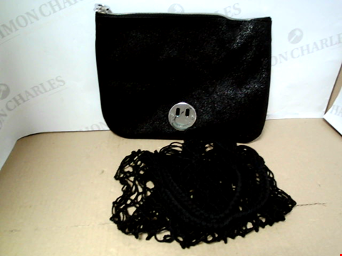 Lot 7048 HILL AND FRIENDS HAPPY POUCH CLUTCH BAG WITH STRONG SHOPPER - BLACK