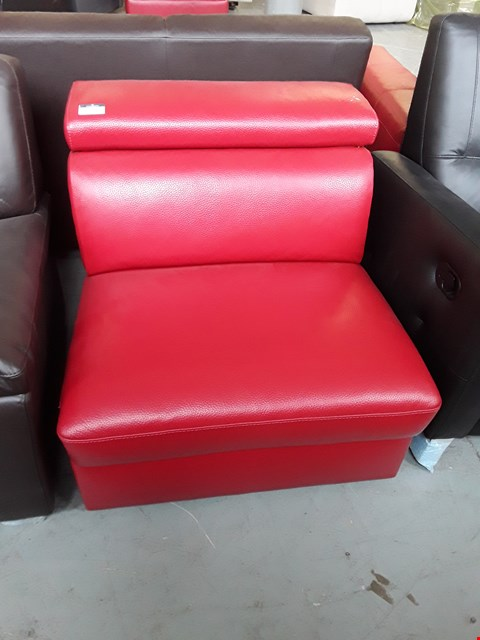 Lot 55 BRAND NEW QUALITY ITALIAN DESIGNER RED LEATHER SOFA SECTION WITH ADJUSTABLE HEADREST