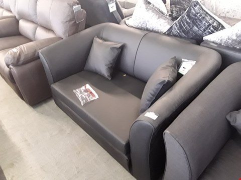 Lot 74 DESIGNER BLACK FAUX LEATHER FOLD OUT COMPACT 2 SEATER SOFA BED