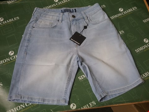 Lot 4166 LEVEL 1 DENIM SHORTS DISTRESSED SIZE 28 RRP £24.99