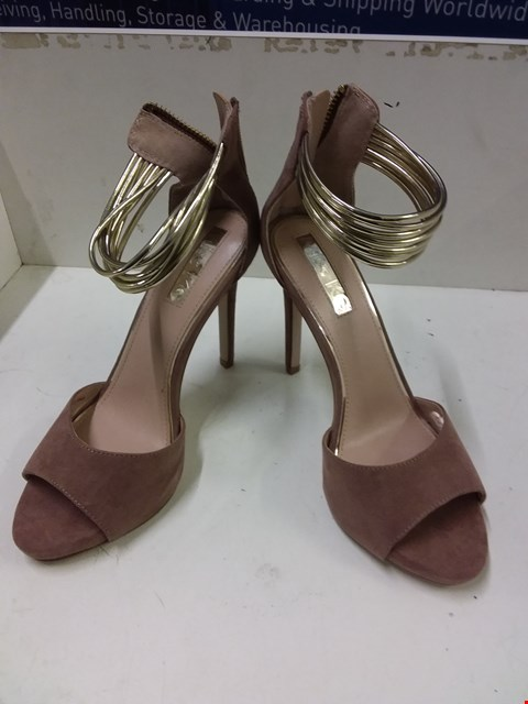 Lot 9030 BOXED KURT GEIGER MISS KG SUEDETTE HEELED SHOES - ROSE GOLD SIZE 4