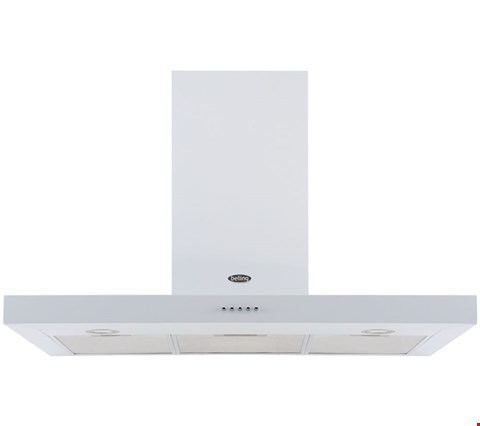 Lot 12007 BELLING 110 DB FLAT 110CM WIDE CHIMNEY COOKER HOOD - WHITE