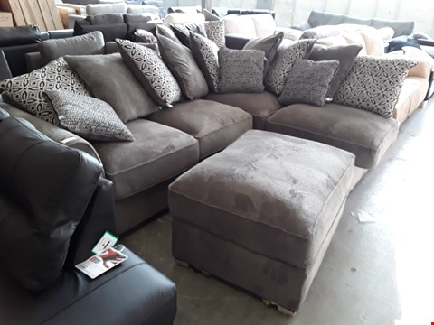 Lot 67 DESIGNER GREY JUMBO CORD CORNER SOFA WITH CONTRAST SCATTER BACK CUSHIONS AND ACCOMPANYING FOOTSTOOL