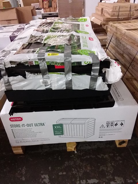Lot 213 PALLET CONTAINING 3 KETER STORAGE UNITS INCLUDES 2 STORE-IT-OUT ARCS AND 1 STORE-IT-OUT ULTRA RRP £550
