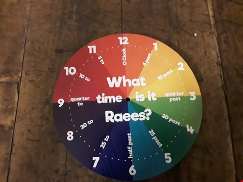 Lot 1333 LOT OF 2 ITEMS TO INCLUDE PERSONALISED WOODEN TELL THE TIME CLOCK, PRE LIT FLOCK EMPEROR GARLAND TREE  RRP £57