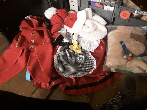 Lot 199 TRAY OF APPROXIMATELY  5 FANCY DRESS ITEMS, INCLUDING, PUP BAG, WELSH NATIONAL COSTUME, RED TAIL COAT, SANTA BEARD ( TRAY NOT INCLUDED )