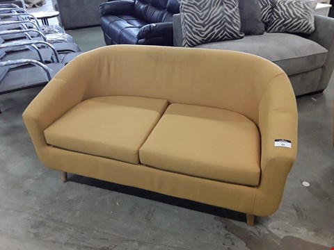 Lot 94 DESIGNER MUSTARD FABRIC 2 SEATER TUB SOFA