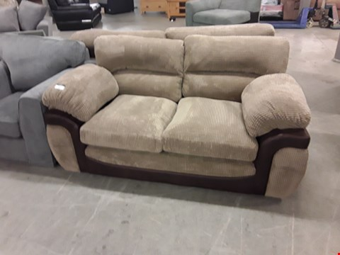 Lot 347 DESIGNER BROWN FAUX LEATHER AND BROWN JUMBO CORD 3 SEATER SOFA