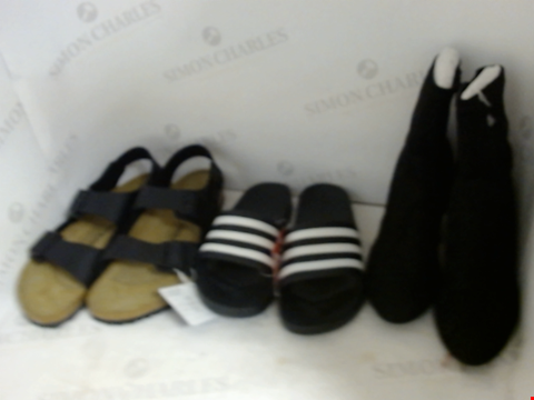 Lot 16061 BOX OF APPROXIMATELY 32 PAIRS OF UNBOXED DESIGNER FOOTWEAR TO INCLUDE BIRKENSTOCK, ADIDAS, NEW LOOK ETC.