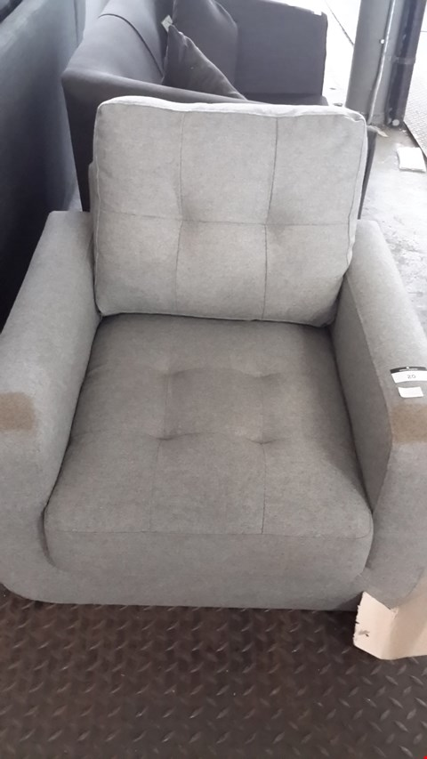 Lot 20 DESIGNER GREY FABRIC BUTTON BACK ARMCHAIR