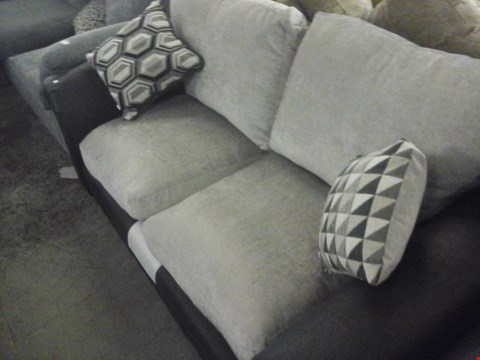 Lot 80 DESIGNER GREY FABRIC 2 SEATER SOFA WITH CUSHIONS
