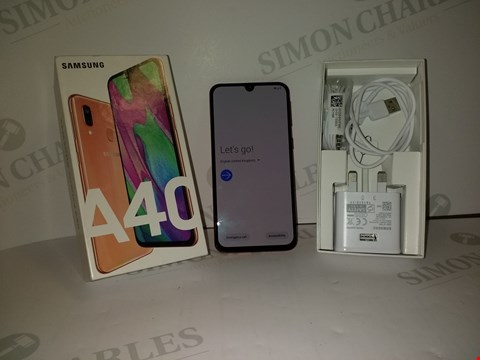 Lot 18356 SAMSUNG GALAXY A40 64GB SMART PHONE IN CORAL