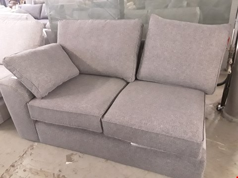 Lot 81 QUALITY DESIGNER BRITISH MADE STAMFORD CHARCOAL FABRIC TWO SEATER SECTION WITH BOLSTER CUSHION