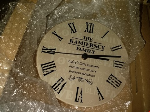 Lot 14683 PERSONALISED FAMILY WALL CLOCK  RRP £32.00