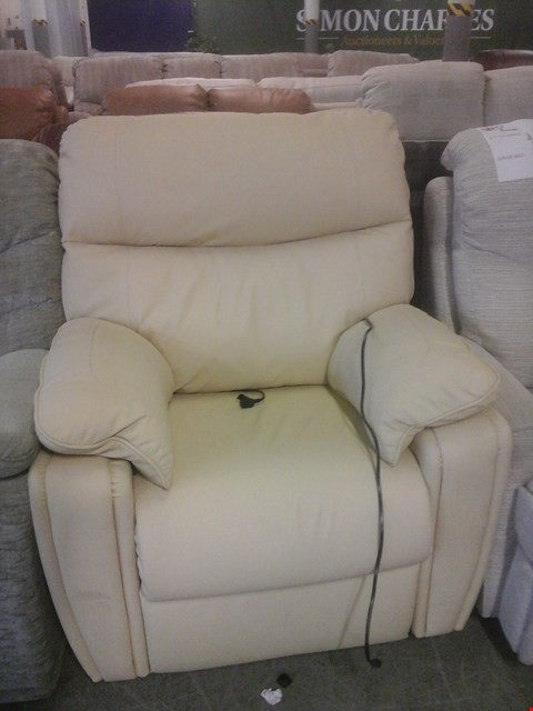 Lot 31 QUALITY BRITISH MADE HARDWOOD FRAME IVORY LEATHER ELECTRIC RECLINER ARMCHAIR