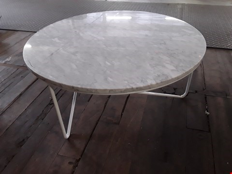Lot 26 BOXED DESIGNER OSKAR MARBLE EFFECT CIRCULAR COFFEE TABLE 800 × 800 × 355 RRP £440