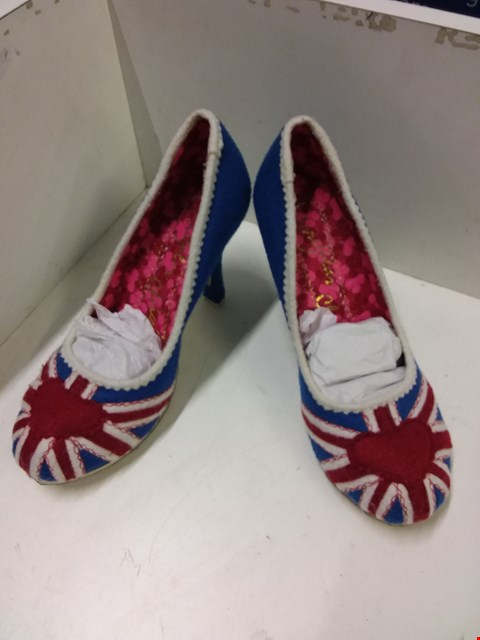 Lot 9075 IRREGULAR CHOICE UNION JACK HEELED SHOES - SIZE UNSPECIFIED