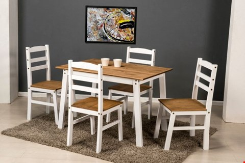 Lot 7026 DESIGNER BOXED SANTOS WHITE DISTRESSED WAXED PINE DINING SET (2 BOXES)