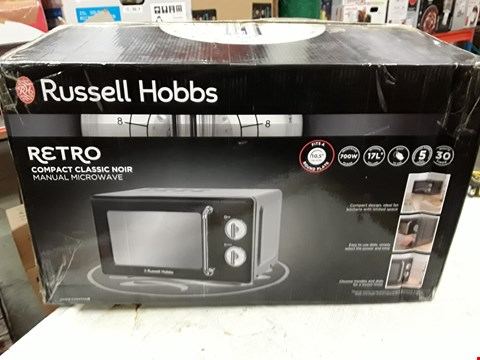 Lot 3075 RUSSELL HOBBS 17L RETRO MANUAL 700W  MICROWAVE BLACK