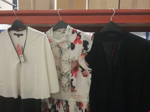 Lot 119 A BOX OF APPROXIMATELY 15 ASSORTED CLOTHING ITEMS TO INCLUDE BLACK JACKET SIZE 30, FLOWER DRESS SIZE 12 AND FRENCH CONNECTION DRESS SIZE 8
