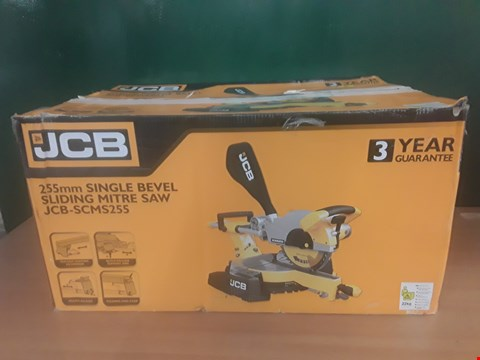 Lot 98 BOXED JCB 255MM SINGLE BEVEL SLIDING MITRE SAW  RRP £140