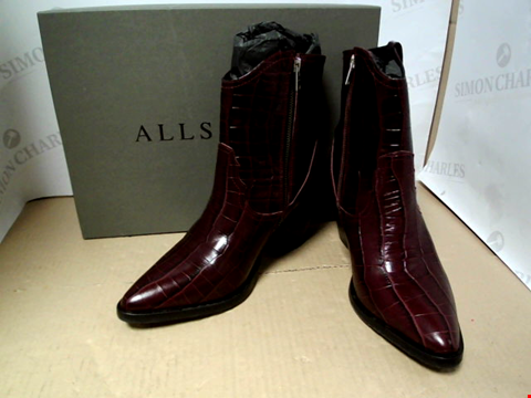 Lot 7105 ALLSAINTS ROLENE HEELED ANKLE BURGUNDY BOOTS - SIZE 7 UK