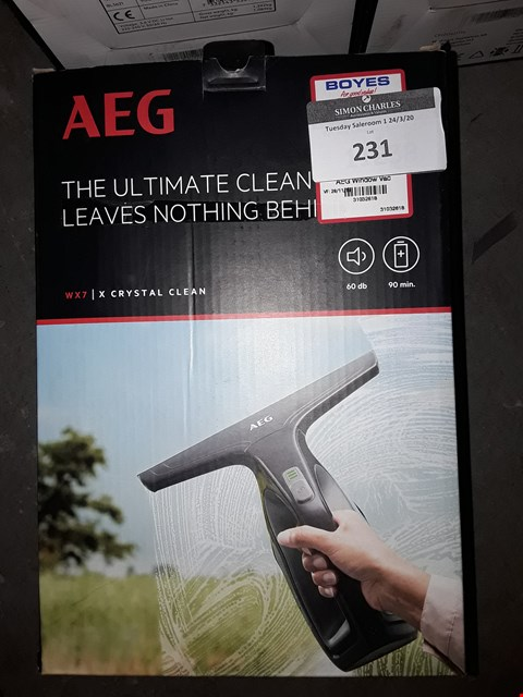 Lot 232 BOXED AEG WX7 CORDLESS WINDOW CLEANER