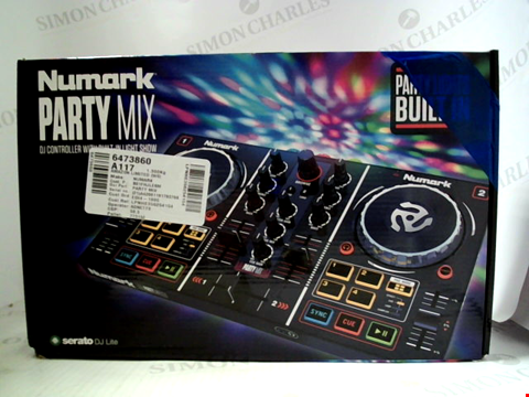 Lot 15600 NUMARK PARTY MIX - COMPLETE DJ CONTROLLER SET FOR SERATO DJ WITH 2 DECKS, PARTY LIGHTS, HEADPHONE OUTPUT, PERFORMANCE PADS AND CROSSFADER / MIXER