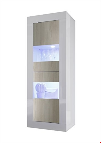 Lot 14 BRAND NEW BOXED SINGLE DISPLAY UNIT GLOSS WHITE AND LIGHT OAK 61 X 43 X 162CM ( 3 BOXES ) RRP £299