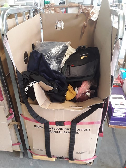 Lot 190 CAGE OF ASSORTED DESIGNER CLOTHING ITEMS TO INCLUDE: BERGHAUS BAG, BATH ROBE, FLORAL DRESS ETC