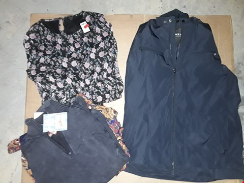 Lot 9391 LOT OF 4 BOXES OF APPROXIMATELY 110 CLOTHING ITEMS TO INCLUDE BLACK LABEL COAT NAVY BLUE, JOEY BROWN'S WASH PERFECT TOP BLUE, ECT