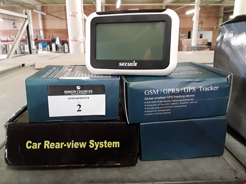 Lot 2 FIVE ITEMS, 3 × GSM TRACKERS, CAR REAR VIEW SYSTEM & UNBOXED SECURE PIPIT 500 MONITORP