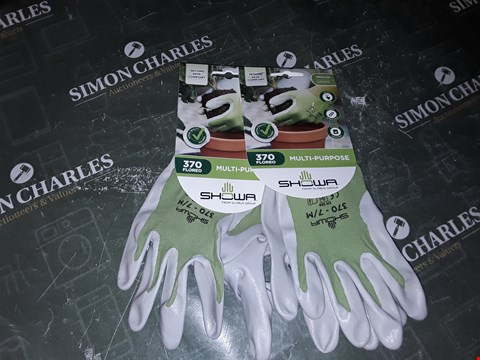 Lot 1130 2 PAIRS OF SHOWA MULTIPURPOSE MEDIUM GREEN PROTECTIVE GLOVES