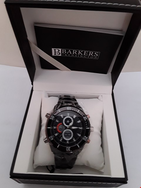 Lot 2089 BRAND NEW DESIGNER BARKERS OF KENSINGTON PREMIER SPORTS GENTS BLACK WRISTWATCH
