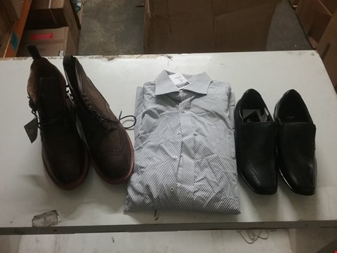 Lot 1332 LOT OF 4 BOXES CONTAINING APPROXIMATLEY 48 ASSORTED CLOTHING AND FOOTWEAR  ITEMS TO INCLUDE POD SMART SHOES BLACK, ETERNA COMFORT FIT LONG SLEEVE SHIRT AND CHATHAM COUNTRY BROWN CHELSEA BOOTS