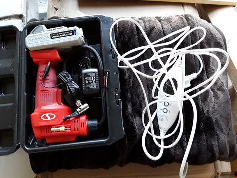 Lot 236 LOT OF 2 ASSORTED ITEMS TO INCLUDE SUNJOE CORDLESS AIR COMPRESSOR, HEATED THROW BLANKET
