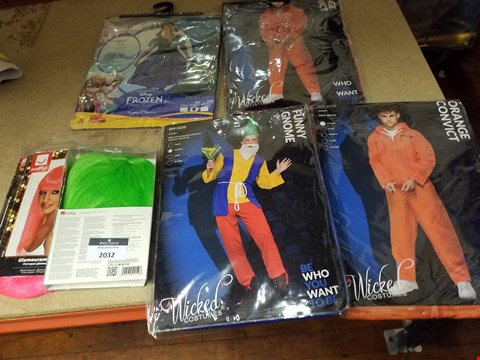 Lot 2032 6 ASSORTED ITEMS TO INCLUDE A ORANGE CONVICT COSTUME AND A DISNEY FROZEN ANNA CLASSIC COSTUME