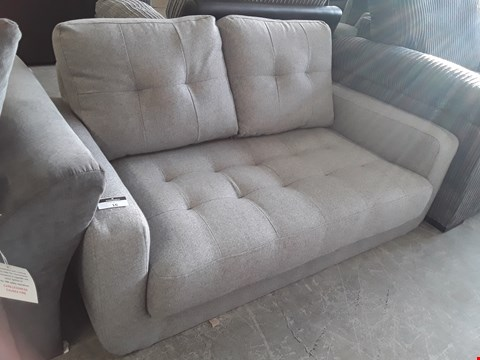 Lot 16 DESIGNER GREY BUTTONED FABRIC TWO SEATER SOFA