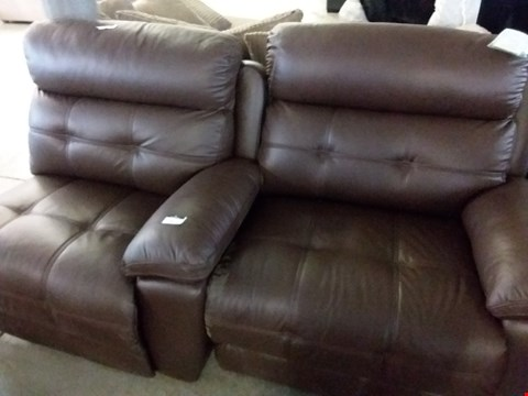 Lot 21 2 SEFTON BROWN LEATHER POWER RECLINER SECTIONS
