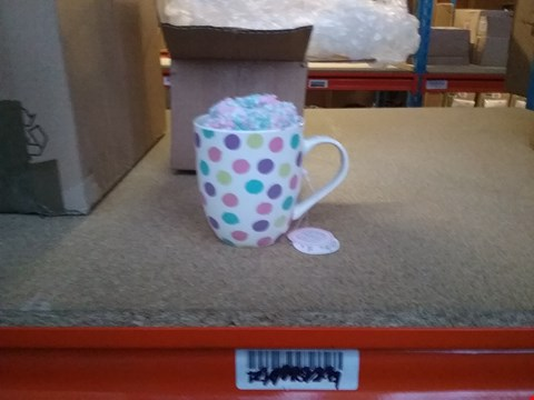Lot 2436 BOXED SPOTTY MUG AND SOCK SET